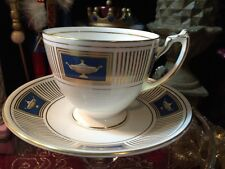 Coalport PALLADIAN Cup and Saucer England, Royal Blue and Gold, Excellent