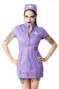 Phaze Naughty Nurse Outfit Sexy Pvc Fancy Dress Hen Night Purple Costume UK