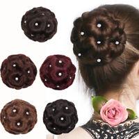 Women Wig Hair Ring Curly Bride Makeup Diamond Bun Flowers Chignon Hairpiece