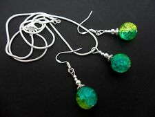 A  CRACKLE GLASS NECKLACE AND EARRING SET  WITH 925 SILVER HOOKS.