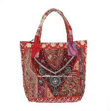 Indian Banjara Shoulder Bag Vintage Sequins Hippie Hobo Carry Beaded Red Handbag