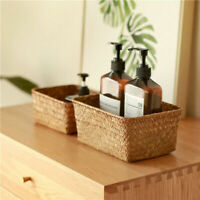 S/M/L Rectangle Seagrass Baskets Container Organizer Books Toys Flower Pots
