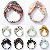 Ladies twist knot pattern headband elastic head wrap turban hair band flower Dr