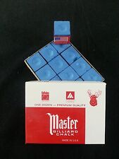 1 BOX ( 12 PIECES ) NEW BLUE MASTER CHALK PACK  - POOL & BILLIARD CUE CHALK
