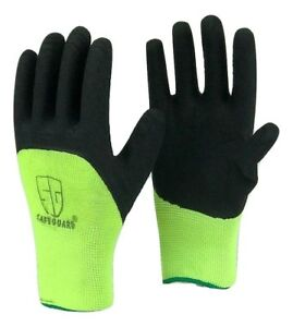 Lot Safeguard High Visible Green Knit Latex Palm Coated Nylon Work Gloves