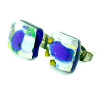 Murano Glass Stud Earrings Silver Blue and Multi Coloured Square Handmade Venice