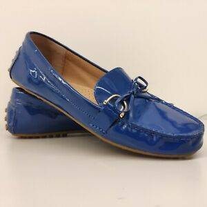 Womens Blue Briley Patent Leather Loafer Ralph Lauren Shoes Designer size 7.5 UK