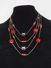 c.A.K.e. By Ali Khan Goldtone Red Tonal Glass Bead Illusion Necklace $38