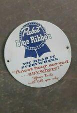 "Porcelain Blue Ribbon Enamel Sign 6"" Inches"