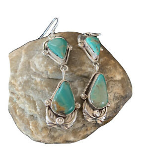 Stunning Green Navajo Royston TURQUOISE Sterling Silver Dangle Earrings01685