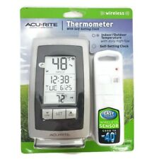 Acurite Wireless Thermometer  Indoor & Outdoor Temperature Self setting Clock