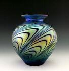 Glamorous Art Nouveau Glass Jugendstil Iridescent Bohemian Vase Tall 7 1/2 ''