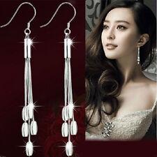 Fashion Women 925 Sterling Silver Long Drop Dangle Tassel Earrings Women Jewelry