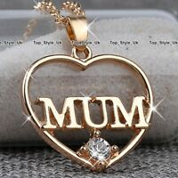Rose Gold Mum Heart Necklace Crystal Jewellery Mother Gifts for Her Christmas S1