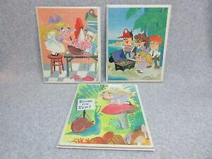 1964 THE FUNNY COMPANY Animated Cartoon  3 Frame-Tray PUZZLES  SHRINKIN VIOLETTE