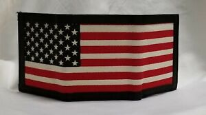 American Flag Genuine Leather Trifold Wallet Canvas Flag & RFID Blocker