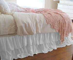 """15"""" Drop Double Layer Rufle Bed Skirt 800TC Egyptian Cotton Twin/Full/Queen/King"""