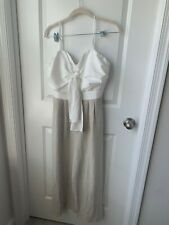 Verte Women's White and Striped Tie Front Jumpsuit Size Medium NEW