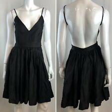 NWT $369 Contrarian 2 Black Barbara Backless V-Neck Flare Dress Anthropologie