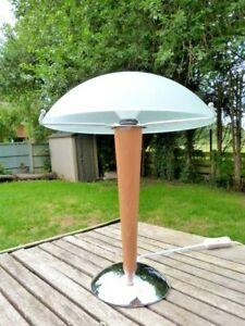 VINTAGE IKEA KVINTOL DECO STYLE CHROME WOOD & FROSTED GLASS MUSHROOM TABLE LAMP