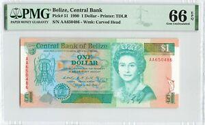 BELIZE 1 Dollar 1990, P-51 Central Bank, PMG 66 EPQ Gem UNC