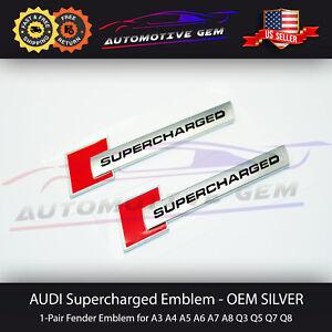 Audi Supercharged Emblem Side Fender Badge Logo Chrome Red Sticker Pair OEM