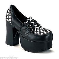 Demonia Charade-12 Goth Punk Lolita Black White Check Strap Mary Jane  Shoes