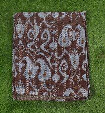 Twin Size Cotton Handmade Kantha Quilt Bohemian Paisley Design Ralli Throw Brown