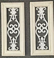 "Framed Shabby Chippy Cast Iron Wall Decor Hanging Hangers Set Farmhouse 23.25"" T"
