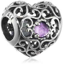 Pandora 791784sam February Signature Heart Synthetic Charm