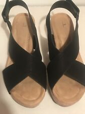 CL by Laundry Womens Dream Girl Black Platform Wedge Sandals Shoes size 7.5 M