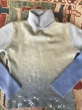Fluffy Angora Sweater Long Sleeve Sequence Ombre Blue Turtleneck Sz M