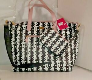 LUV BETSEY JOHNSON  Black/white/pink Weekender BAG/Makeup pouch Overnight, Bag