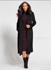 New York & Company Gabrielle Union Long Wool Coat Black Double breasted SZ xs