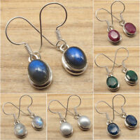 925 Silver Plated Real LABRADORITE & Other Gemstone FASHION Jewelry Earrings NEW