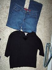 New YORK & CO West side 12 STRETCH blue jeans STYLE & CO sweater L LG Large