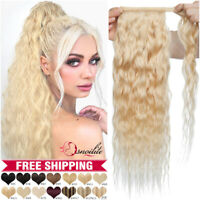 Corn Wave Wrap Around Ponytail 100% Remy Human Hair Extensions Curly Blonde Long