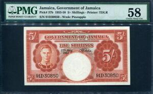 Jamaica 1953-1958 ( 1957 ), 5 Shillings, P37b, PMG 58 AUNC