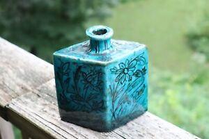 Antique Diamond shape Slab Persian Iznik Pottery Vase Bottle Turquoise Islamic