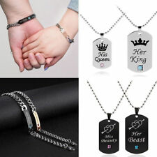"""His And Her """"Her King His Queen"""" Stainless Steel Couple Lover Necklace Bracelet"""