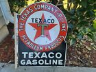 Vintage Texaco Gasoline Double Sided Flange Porcelain Sign (Rare) Automotive Oil