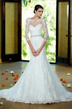 Mermaid & Trumpet 3/4 Sleeve Scoop Neck Wedding Dresses