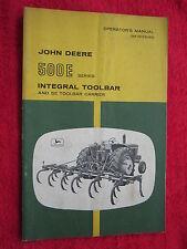 VINTAGE ORIGINAL JOHN DEERE 500E INTEGRAL TOOL BAR & 5E CARRIER OPERATORS MANUAL