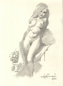 THE BLONDE BOUDOIR!  Original Art Pencil Drawing by Mike Hoffman!