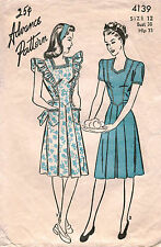 1940's VTG Advance Misses Dress Pattern 4139 Size 12