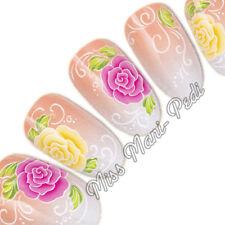 NAIL Art Water Trasferimenti Wraps Decalcomanie Rosa & fiori gialli rose floreale G086