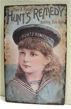 Hunts Remedy Balm Sea Maiden Rustic Old Style Tin Sign