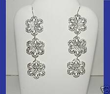 "NEW Filagree White-Silvertone Flower Hook Earrings 3"" Dangle Lightweight Lovely"
