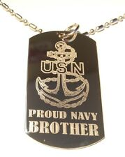 Dog Tag chrome Metal Chain Necklace United States Proud Navy Brother New Gift