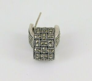 Judith Jack 925 Sterling Silver Marcasite Hoop Earrings